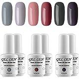 Gellen UV Gel Nail Polish Kit - Nude Pastel Colors , Pack of 6 Colors 2017 New Arrivial Set #TX