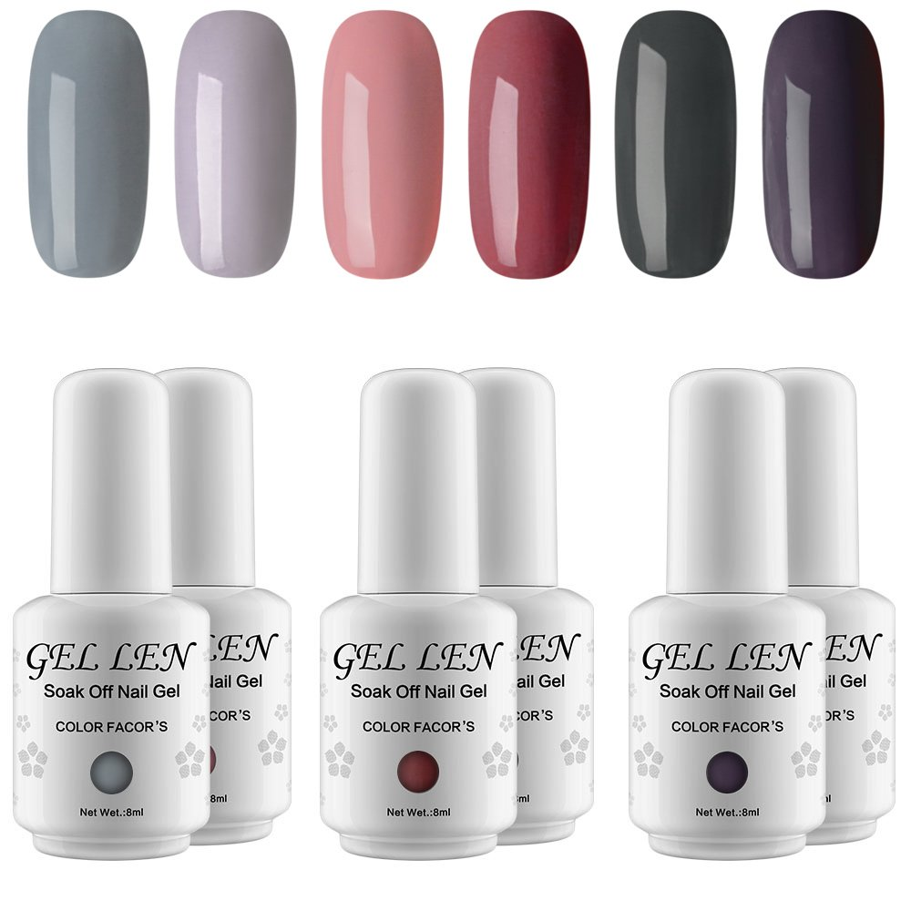 Amazon.com : Gellen Gel Nail Polish Set - Elegance Cold Grays Series ...