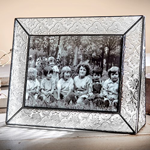 J Devlin Pic 126-57H Stained Glass Picture Frame Clear Vintage Texture Glass 5x7 Horizontal Landscape Photo