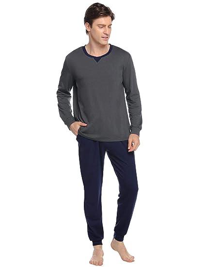 Herren Pyjama Schlafanzug Nachtwäsche Langarm Lange Hose V Rundhals-Ausschnitt