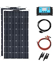200w 12v Solar Panel Kit 2pcs 100W Flexible Solar Panels for RV, Boat, Cabin, Tent, Car, Trailer, 12v Battery with Solar Controller MC4 Connector Wire
