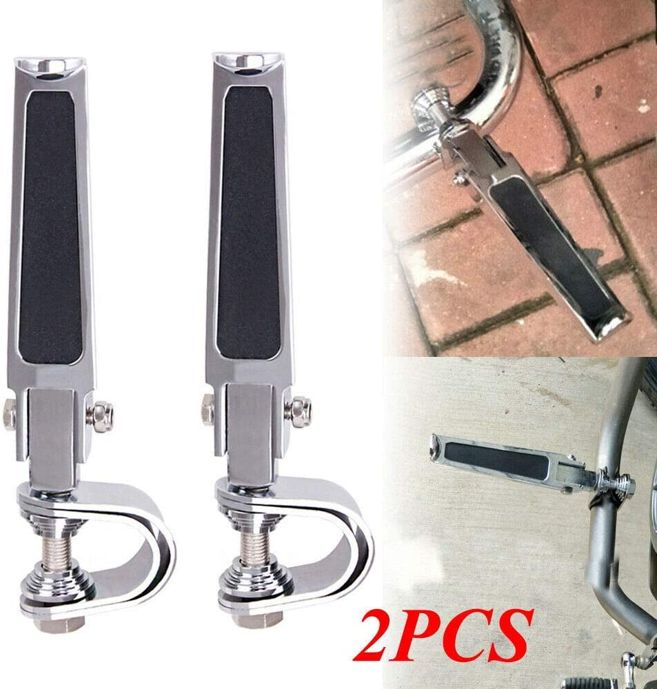 PQZATX Motorcycle U-Clamp Foot Pegs Rests 1 Inch-1-1//4 Inch Highway Engine Crash Bar for