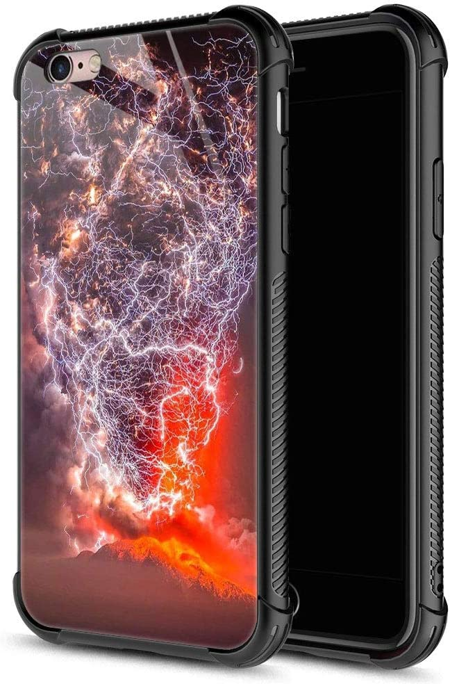 iPhone 6S Plus Case,Volcano Lightning Nature iPhone 6 Plus Cases for Girls Boys,9H Tempered Glass Graphic Design Shockproof Anti-Scratch Tempered Glass Case for Apple iPhone 6/6S Plus