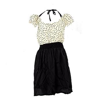 SODIAL(R) Vestido del verano del vestido del lunar clara corta de la manga