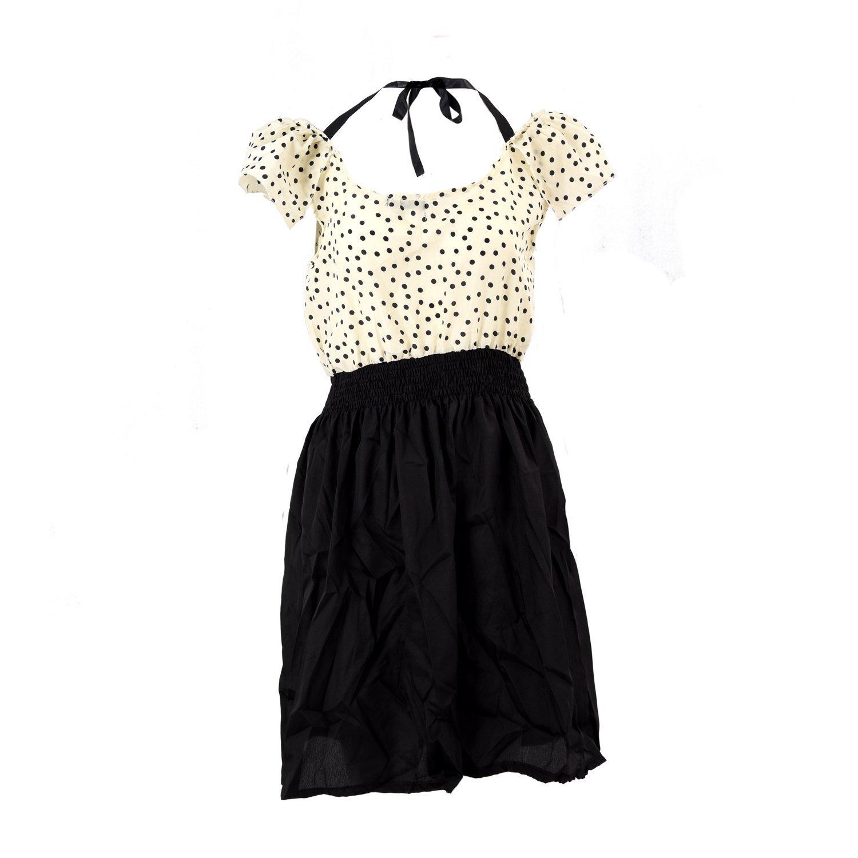 TOOGOO(R) Vestido del verano del vestido del lunar clara corta de la manga