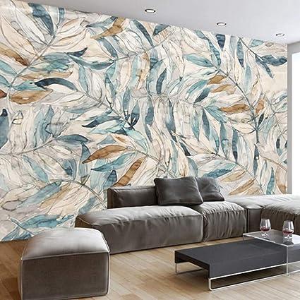 Amazon.com: Pbldb Custom Photo Wallpaper Modern Retro Hand-Painted Leaf Backdrop Wall Painting Living Room Tv Sofa Home Decor Mural Wall Paper 3 ...