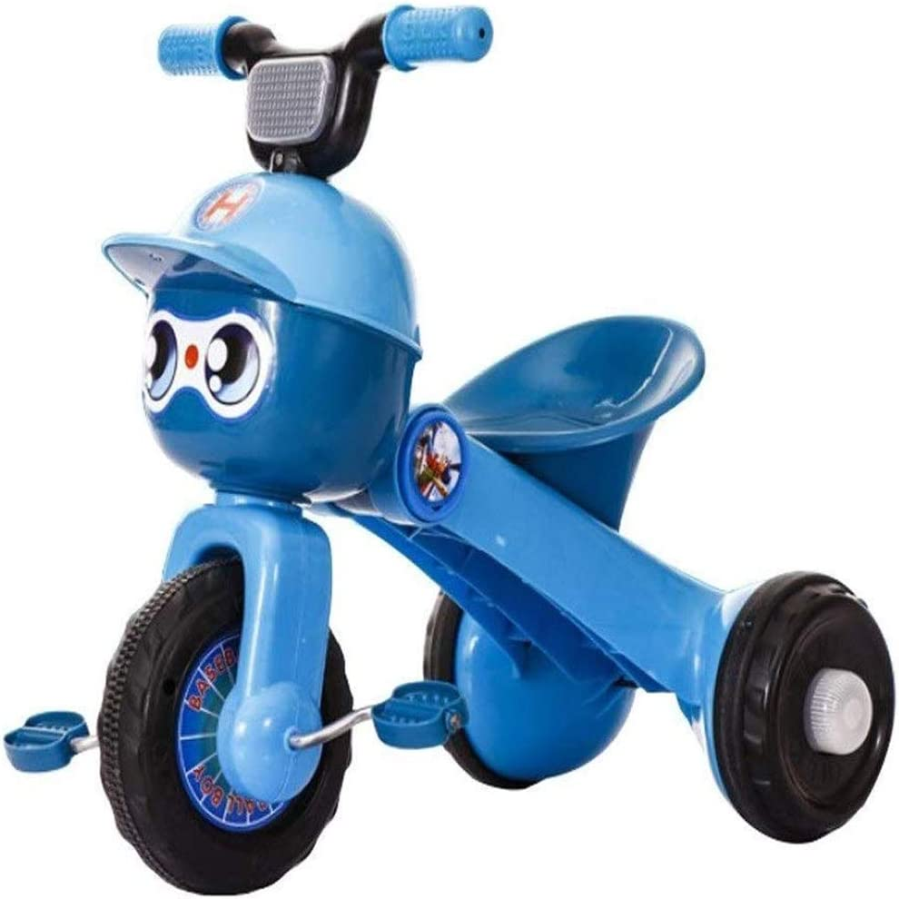 AJH Triciclo Plegable niños Bicicleta de la luz Triciclo Correa de Transporte Musical Cochecito excursión portátil y Seguridad de la Carretilla Chico y Chica Presente,Azul