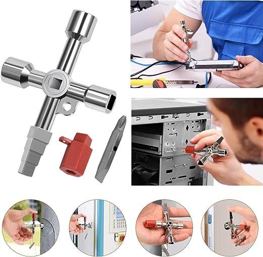 Llave de llave multifuncional de 4 v/ías para agua el/éctrica medidor de gas caja armario apertura llave elevador puerta v/álvula cruz ronda agujero clave