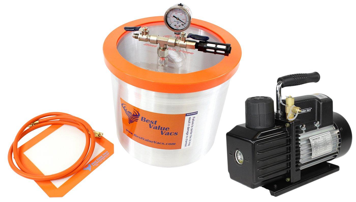 Best Value Vacs VE Kit- 3 Gallon BVV Aluminum Vacuum Degassing Chamber and VE115 3 CFM 1 Stage Pump