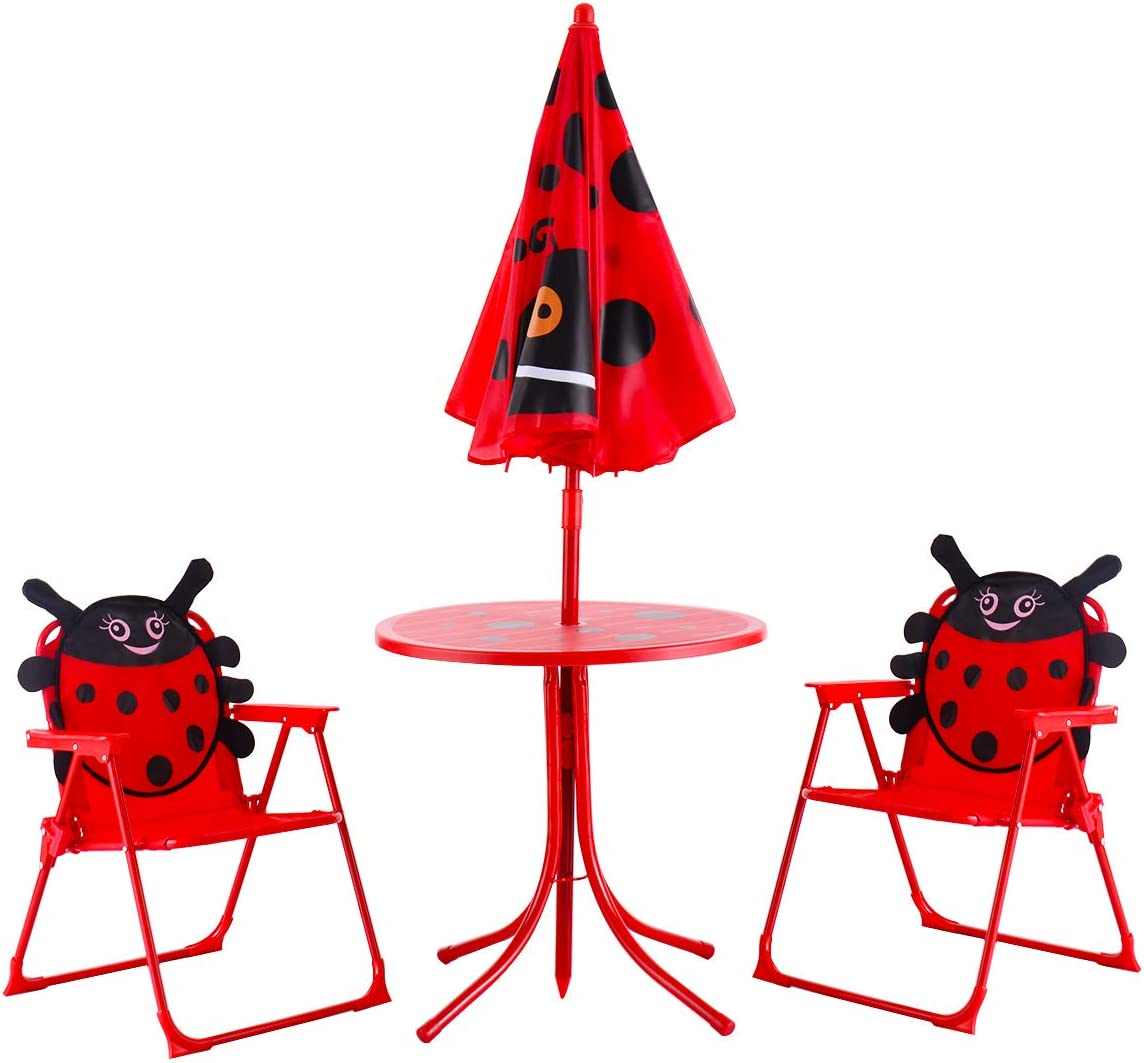 Amazon Com Happygrill Mini Table Chairs Set Kids Folding Patio Table Set With Removable Umbrella Garden Outdoor