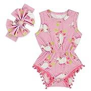 fe51e4581 Anbaby Baby Girls Sleeveless Pom Pom Romper Various Patterns Floral  Bodysuit Clothes Unicorn S