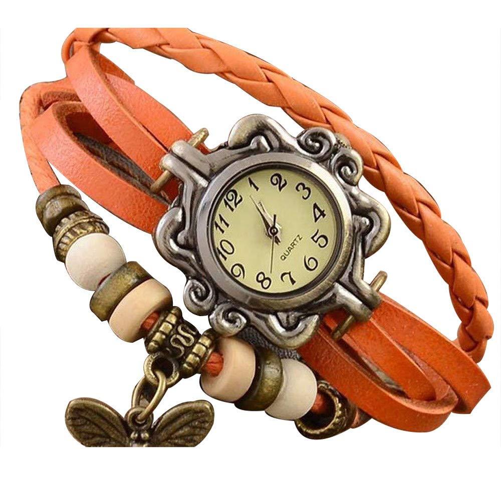 Pocciol Brown Retro Weave Wrap Lady Bead Butterfly Dangle Bracelet Bangle Quartz Wrist Watch (Orange)