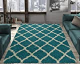 Ottomanson shag Collection Area Rug, 5'3'X7'0', Turquoise Blue
