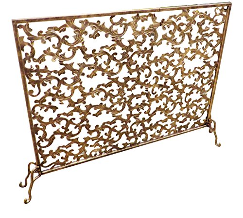 Leaf and Scroll Gold Single Panel Flat Fireplace Screen