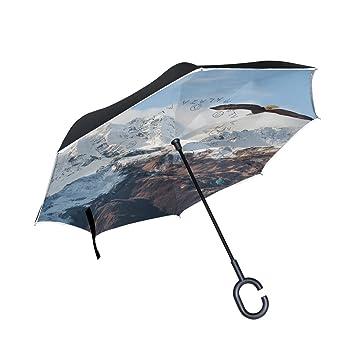 jstel doble capa auxiliar alaska Range Eagle paraguas coches Reverse resistente al viento lluvia paraguas para