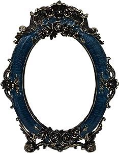 Nerien Decorative Vintage Retro Metal Tabletop Mirror Rose Embossed Makeup Vanity Mirror with Stand Blue