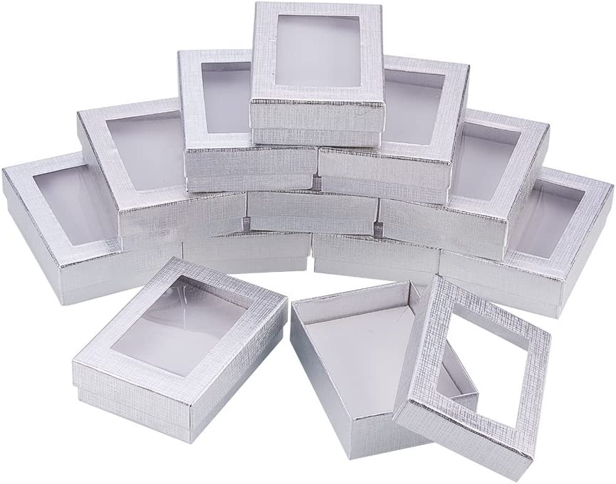 """NBEADS 30PCS Silver Gift Boxes Presentation Box with Padding - Birthday Gift Box - Necklace Box Earring Box Ring Box Cardboard Jewelry Boxes 3.54""""x2.56""""x1.1"""""""