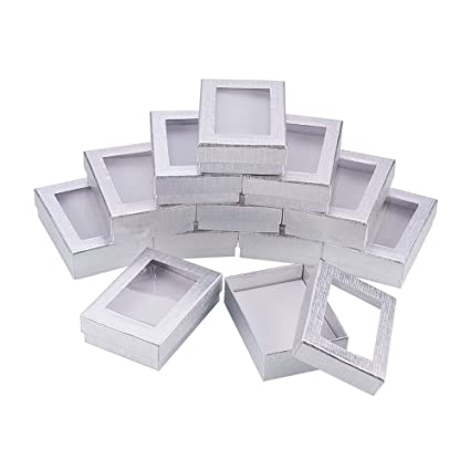 6d3fa2fed NBEADS 60PCS Silver Gift Boxes Presentation Box with Padding - Birthday Gift  Box - Necklace Box