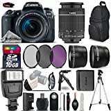 Canon EOS 77D DSLR Camera + Canon 18-55mm IS STM Lens + Flash + 0.43X Wide Angle Lens + 2.2x Telephoto Lens + UV-CPL-FLD Filters + 16GB Class 10 SDHC Flash Memory Card - International Version