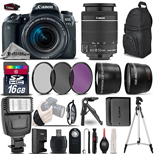 Canon EOS 77D DSLR Camera + Canon 18-55mm IS STM Lens + Flash + 0.43X Wide Angle Lens + 2.2x Telephoto Lens + UV-CPL-FLD Filters + 16GB Class 10 SDHC Flash Memory Card - International Version by TriStateCamera