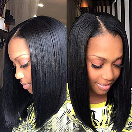 Search : Destiny Love Short Hair Black Yaki Straight Bob Lace Front Wig Synthetic Shoulder Length Short Heat Resistant Fiber Hair Glueless Cap Lace Front African American Women's Wigs with Baby Hair 16 Inch