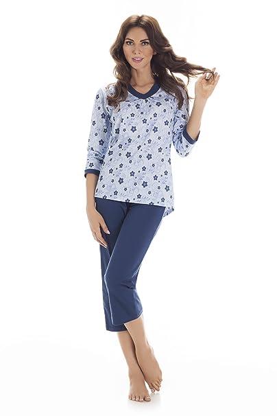 Cornette Pijamas Dos Piezas para Mujer CR-647/02 (Azul, S)
