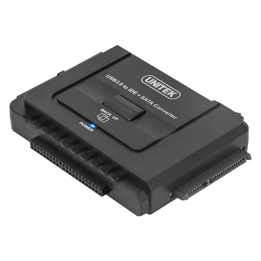 UNITEK USB 3.0 to IDE & SATA Converter External Hard Drive Adapter Kit for Universal 2.5/3.5 HDD/SSD Hard Drive Disk, One Touch Backup Function and Restore Software, Included 12V/2A Power Adapter