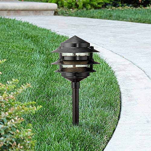 Three-Tier Pagoda 17 3 4 H Black LED Landscape Path Light – John Timberland
