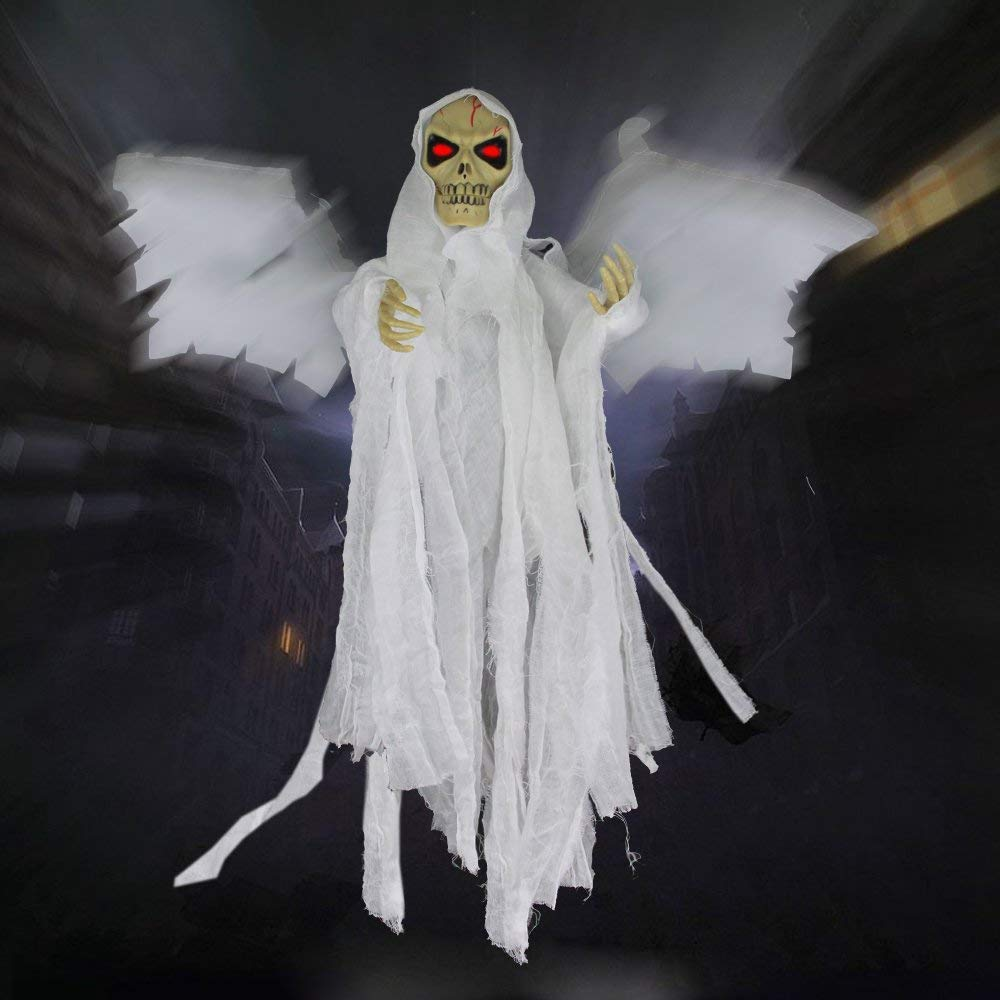 ALITOVE Hanging Floating Ghost With Sounds and Glowing Red Eyes Winged Animated Grim Reaper Skull Props Halloween Decorations