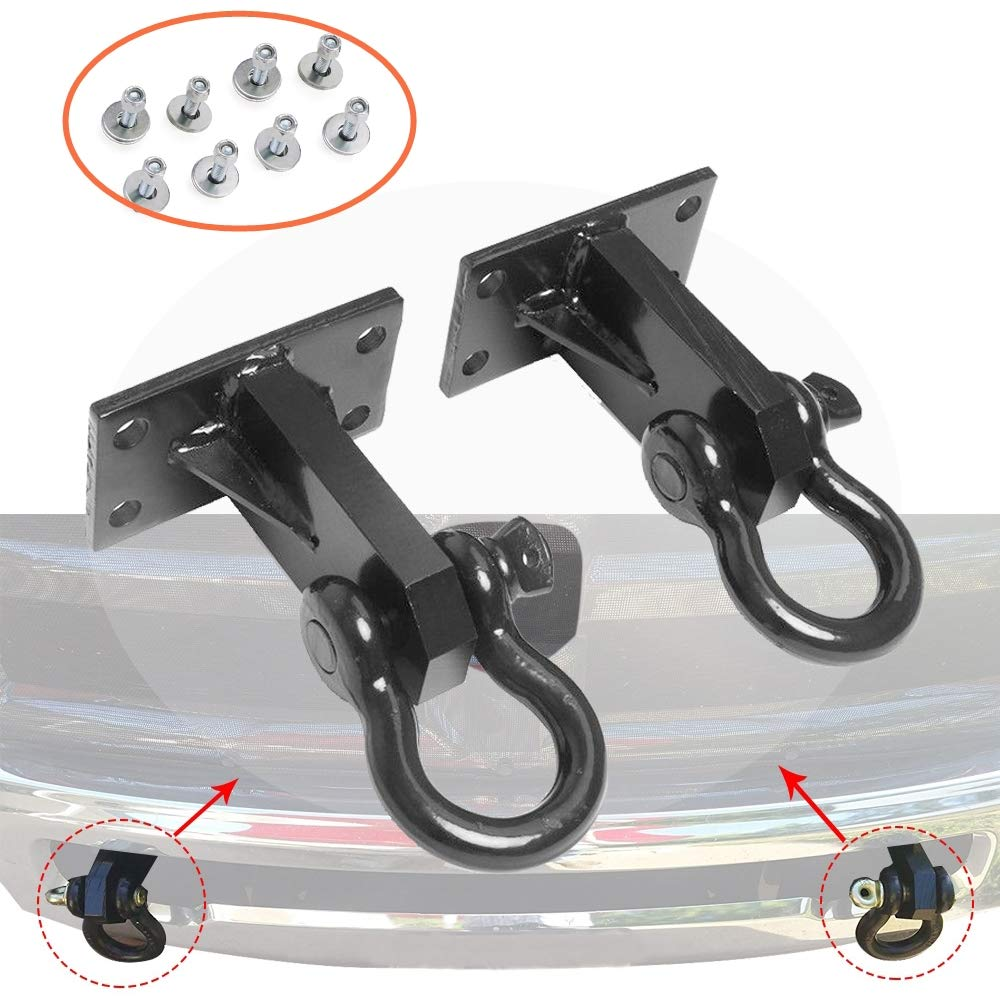 2P Front Tow Hooks for Dodge Ram 2500//3500 2010-2018 Custom Heavy Duty with Hardware
