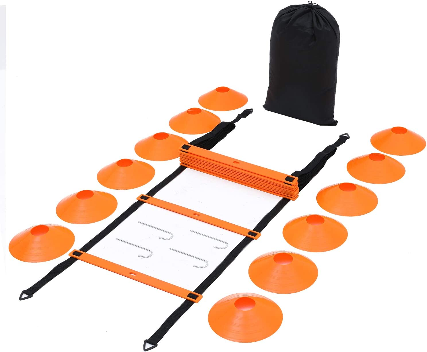 Max4out Speed Agility Ladder, Hexagonal Speed and Agility Training Rings Set Speed Training Equipment