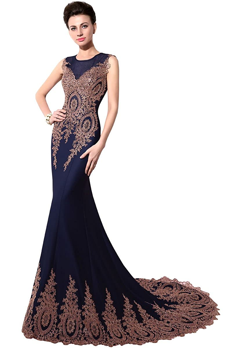 028navy bluee Sarahbridal Women's Mermaid Evening Ball Dress 2019 Formal Long Prom Gowns