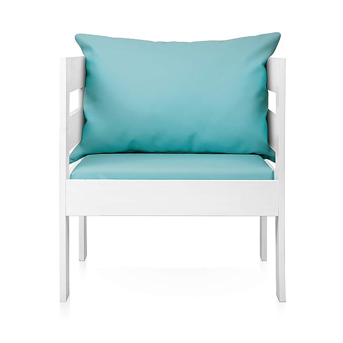 SUENOSZZZ - Sofa Jardin de Madera de Pino Color Blanco, MEDITERRANEO Mod. sillón, Sillon cojín Polipiel Color Turquesa. Muebles Jardin Exterior. Silla ...