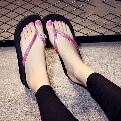 FEI Mules Female Summer Non-slip Slippers For Ooutdoor(Pink, Black, Blue, Gold, Silver) Sandals Casual (Color : Gold, Size : 38) Pink