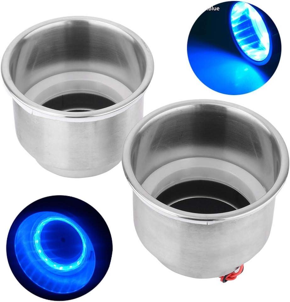 Monland 4 Unids Led Light Drink Holder Blue 8 Led Empotrado Taza de Acero Inoxidable Drink Holder Cup Shape para Coche Marine Boat