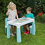 Liberty House Toys Kids Height Adjustable Table and 2 Chairs, Tough Durable Polypropylene, White and Forest Green, 49…