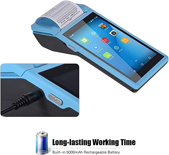 Android 6.0 pos Terminal Receipt Printer with 5.5 inch Screen All in One Handheld PDA Printer Portable Barcode Scanner Supports 3G, WiFi, BT4.0, 4GB ...