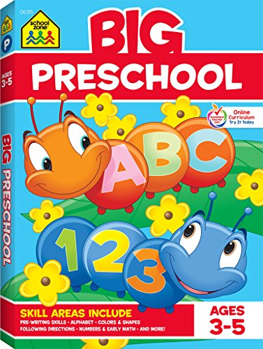 School Zone - Big Preschool Workbook - Ages 3 to 5, Colors, Preschool to Kindergarten, Shapes, Numbers 1-10, Alphabet, Pre-Writing, Pre-Reading, and Phonics (School Zone Big Workbook - Activities Child Learning Brighter