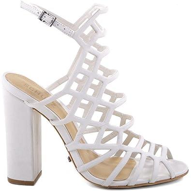 fda26c14d06 SCHUTZ Women s Jaden Dress Sandal Pearl White Leather Caged Block Heel ...