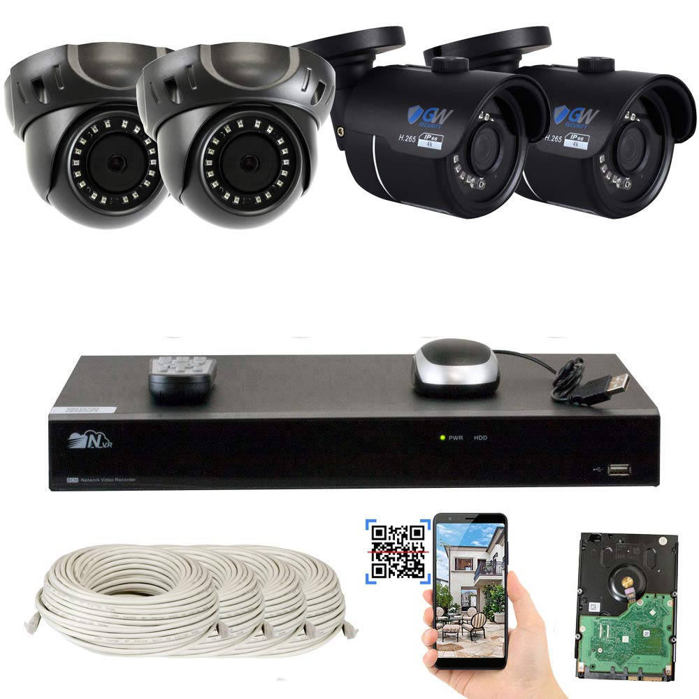 GW 8 Channel H.265 4K NVR 8-Megapixel Security Camera System, 2 Bullet and 2 Dome 8MP PoE Outdoor Indoor Waterproof UltraHD 4K IP Cameras, 2TB Hard Drive