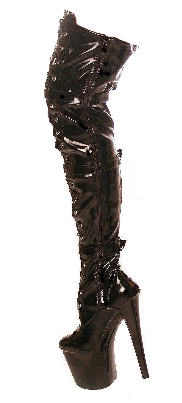 66040ebd99c8e2 RUBY-FASHION Sexy Plateau Boots Overknee Lack Stiefel Extrem Hohe Stiletto High  Heels Lackstiefel Langschaft Hoher Schaft Over-Knee GoGo Damen Schuhe ...