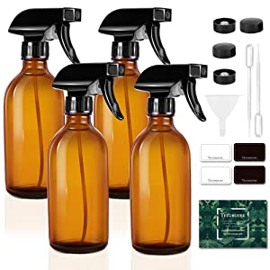 Tecohouse Glass Spray Bottle for Cleaning Solutions and Essential Oils, 4 oz Empty Refillable Sprayer Container with Labels, Funnel, Lids, Graduated Pipettes - Pocket Size 4 Pack (Amber)