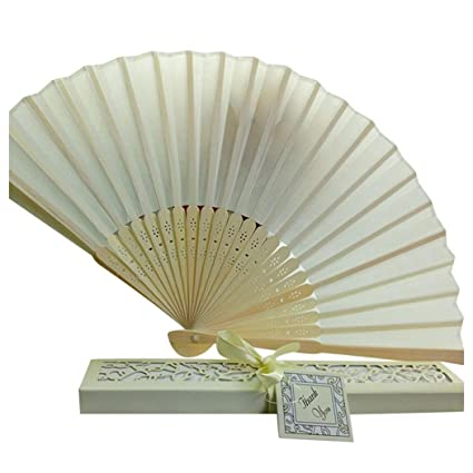 Amazon.com: Folding Hand Held Fans, Inkach Bridal Chinese Bamboo ...