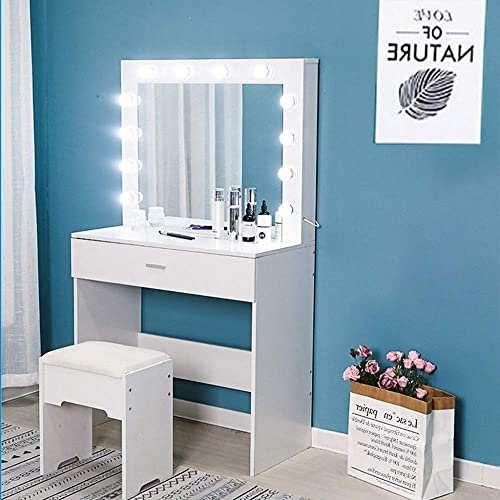 US Fast Shipment Makeup Vanity Set with Lighted Mirror 12 Cool LED Bulbs, Sliding Drawer and Cushioned Stool Dressing Table for Bedroom Furniture Walnut White