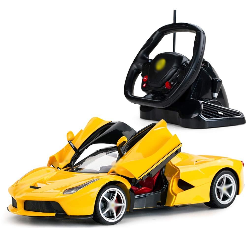 DUWEN Modello di Auto Sportiva di Ricarica per Auto Giocattolo in plastica per Bambini (colore   Giallo)