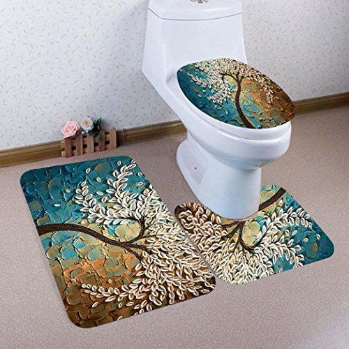 Bathroom Toilet mats 3 set Tree Print Non-Slip Pedestal Rug + Lid Toilet Cover + Bath Mat Set by Vibola (B)