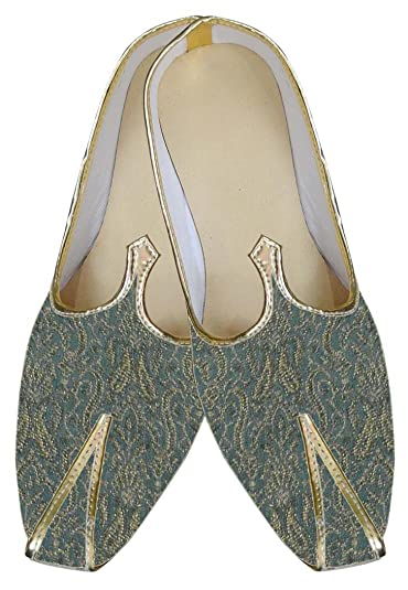 Mens Sea Green Brocade Wedding Shoe MJ0012