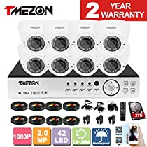 TMEZON 8CH AHD 1080P System CCTV Cameras Surveillance Security System 8x 2.0MP Night Vision Outdoor 2.8mm-12mm Zoom Lens AHD Camera 2TB HDD