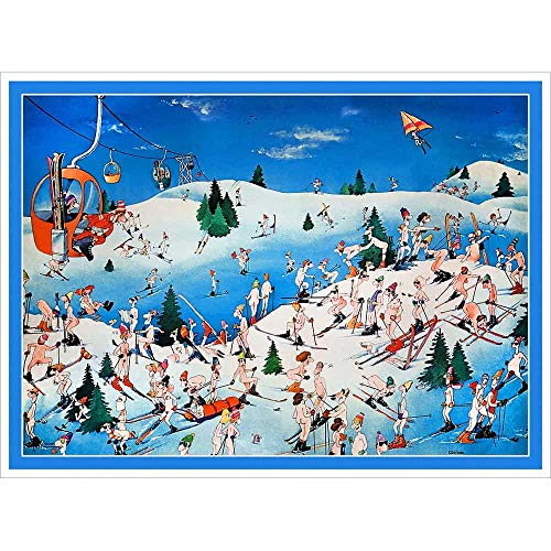 Nude Resort Funny Vintage Ski Poster - 22 x 28 inches, Comes in 2 Sizes