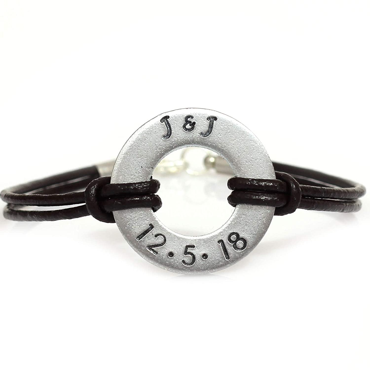 4445da5f4d Amazon.com: Personalized Washer Custom Date and Initial Couples Bracelet  with Leather Cord: Handmade